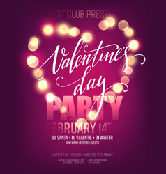 Valentines day party poster with bright lights vector