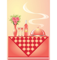 Vase with flower wine with goblet and tray vector