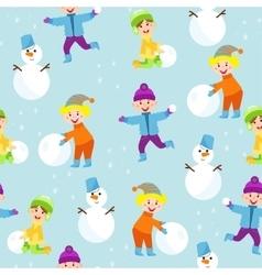 Winter kids seamless pattern vector