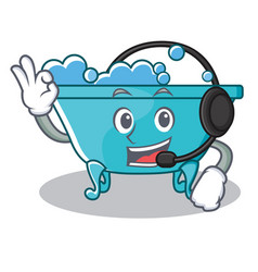 With headphone bathtub character cartoon style vector
