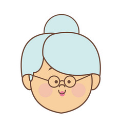 Woman elderly face head female cartoon vector