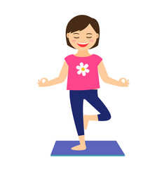 young girl in yoga pose vector image vector image