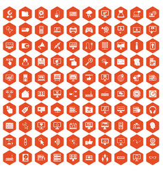 100 computer icons hexagon orange vector