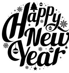 Happy new year lettering greeting card design vector
