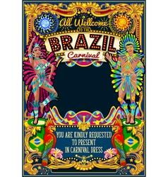 Rio carnival poster theme brazil carnaval mask vector