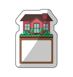 Sticker of small house design with label vector