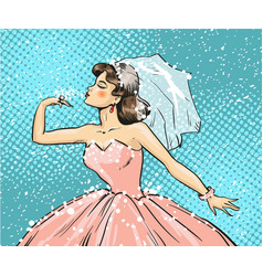 Pop art of bride looking at vector