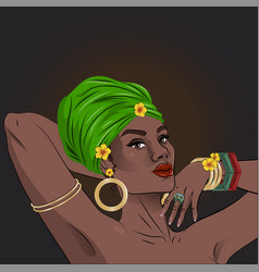 African american black beauty woman portrait vector