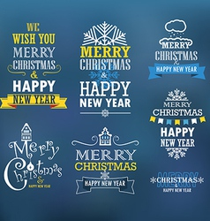 Merry christmas and a happy new year wishes vector