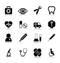 Medical icons set with reflection vector