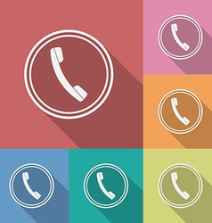 Icon of phone telephone flat style vector