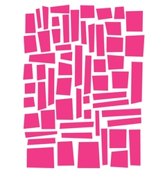 Irregular square and rectangle shapes in pink over vector