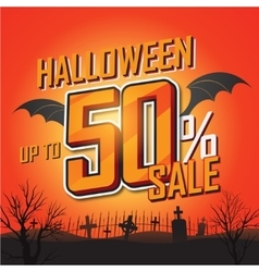 Halloween sale banner vector image