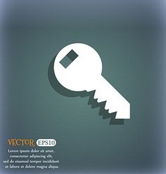Key sign icon unlock tool symbol on the blue-green vector