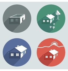 House building icon set cottage apartment vector