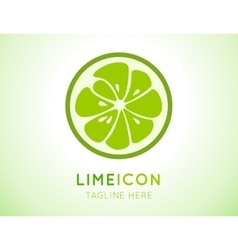 Green lime stylish icon Juicy fruit logo vector image