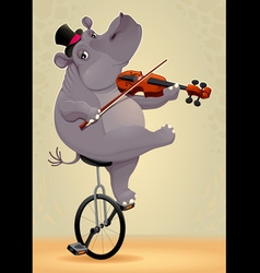 Funny hippo on an unicycle vector