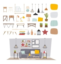 Furniture interior and home decor concept icon set vector