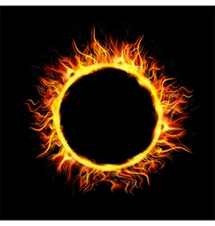 Fire Circle on Black Background vector image