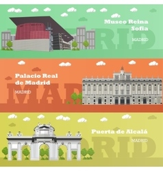 Madrid tourist landmark banners vector