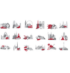 A set of miniatures symbolizing the country vector