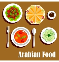 Arabian vegetarian lunch menu flat icon vector image