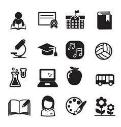 basic school icon set vector image
