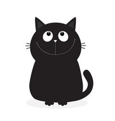 black kitten cat looking up cute cartoon funny vector image