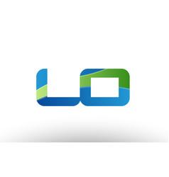 Blue green lo l o alphabet letter logo vector