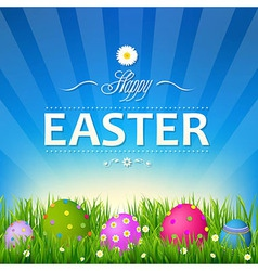 Blue Sky With Grass Easter Card vector image