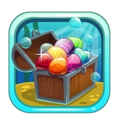 Cartoon app icon with treasure chest vector