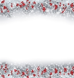 Christmas Banner with Silver Fir Twigs vector image vector image
