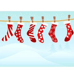 Christmas retro stockings in snowing vector