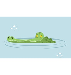 Crocodile in water large alligator in swamp Cute vector image