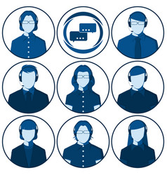 flat avatars of men and women with headset vector image vector image