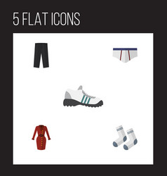 Flat icon dress set of clothes pants foot vector