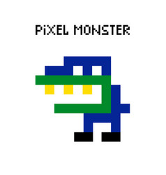 game retro pixel dinosaur monster vector image