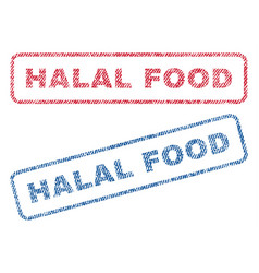 Halal food textile stamps vector