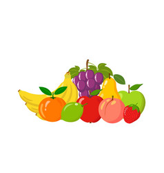 heap of natural fruits isolated on white vector image vector image