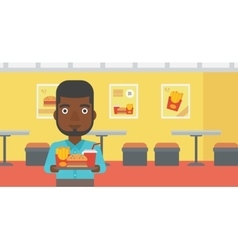 Man with fast food vector