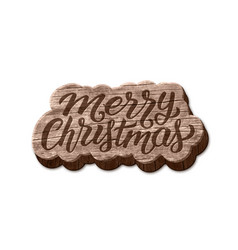 merry christmas wood badge element vector image vector image