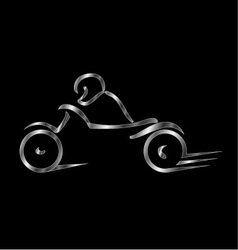 Motorbike with a person wearing helmet vector