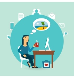 office worker thinking about the beach vector image
