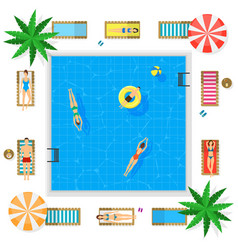 Pool with blue water summer vacation concept vector