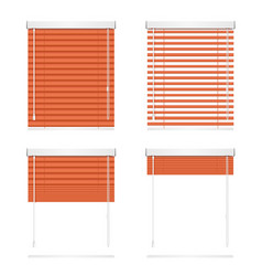 Realistic red window jalousie roller shutters vector