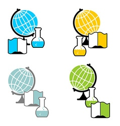 Science logo globe and laboratory flask book and vector
