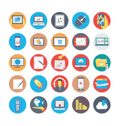 seo and marketing flat circular icons 4 vector image