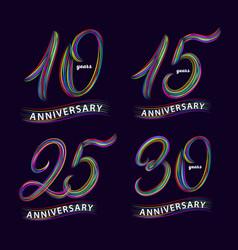 Set of 10 15 25 30 years anniversary hand vector