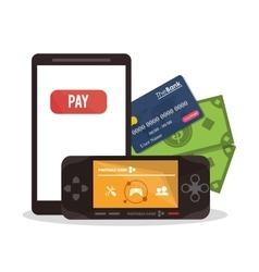 Smartphone payment and shopping design vector