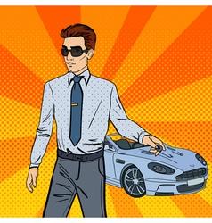 Successful businessman man holding a car key vector